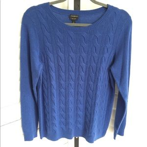 Talbots Cashmere Sweater - Cable Knit Blue Medium